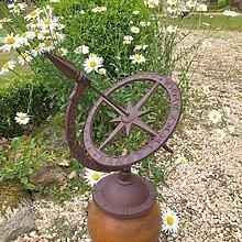 Antikas - Sonnenuhr Garten Dekoration Terrasse, Pfeilerfiguren - Gartenuhr im Landhausstil