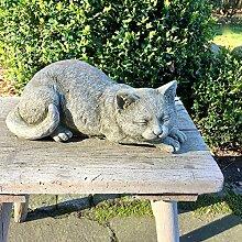 Antikas - Stein Katze Gartenfiguren Bauernhof Tiere - Dekoration Terrasse Katzenfiguren