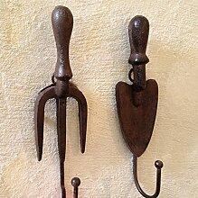 Antikas - Wandhaken Schaufel u Forke - ländliche