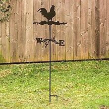 Antikas - Wetterhahn, Wetterfahne mit Erdspieß und Wandbügel, Windspiel für Wand und Boden