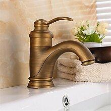 Antike alle Kupfer retro-Becken von warmen und kalten Mixer gebürstet Continental Bad/wc desktop Waschbecken Mischbatterie, antiken Farbe