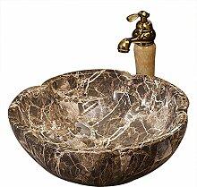 Antike Art runde braune Arbeitsplatte Waschbecken