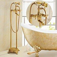 Antike Badewanne Armatur alle Kupfer vertikale triple Wasserhahn Zylinder Kante retro warme und kalte Dusche einstellen