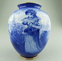 Antike blaue Vase von Royal Doulton