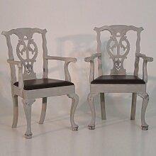 Antike geschnitzte Sessel mit Ledersitzen, 2er Set