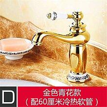 Antike Hahn Gold-farbigen Becken - breite Kupfer continental Retro heißen und kalten Becken jade Sitzbank Waschtischmischer, Gold Blau