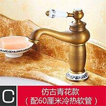 Antike Hahn Gold-farbigen Becken - breite Kupfer continental Retro heißen und kalten Becken jade Sitzbank Waschtischmischer, antiken Blau