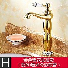 Antike Hahn Gold-farbigen Becken - breite Kupfer continental Retro heißen und kalten Becken jade Sitzbank Waschtischmischer, gold-blau