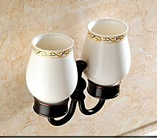 Antike Keramik-Becher/ set Messing Becher Zahnbürstenhalter-B