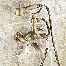Antike Kupfer Badewanne Armatur Wasserhahn Bad Dusche, Wasserhahn warmes und kaltes Wasser mischen Ventil set Hand sprühen von Telefon Dusche einstellen