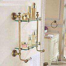 Antike Messing 2 Schicht Glas Handtuch Bad Dusche