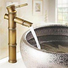 Antike Messing Bambusform Einhand-Waschbecken
