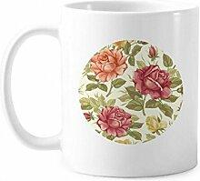 Antike Rose Aquarell Pflanze Blume Tasse Keramik