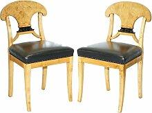 Antike schwedische Biedermeier Beistellstühle mit