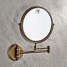 antike Spiegel [Antike Make-up Spiegel] Toilette klappbare Wandspiegel Teleskop Lupe auf beiden Seiten Bad Kosmetikspiegel-A