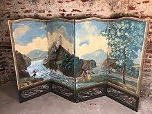 Antike Tafel im Directoire Stil mit Ölmalerei auf