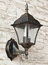 Antike Wand- Außenleuchte IP43 E27 230V aus Aluguss Außenlampe Wandleuchte Außenbeleuchtung für Hof Garten Aussen