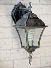 Antike Wand- Außenleuchte IP43 E27 230V aus Aluguss Gartenbeleuchtung Hof Aussen Lampen