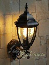 Antike Wand-Außenleuchte / IP44 aus Aluguss / rustikaler Stil / wettergeschützte Wandlampe für Außen Hof Garten