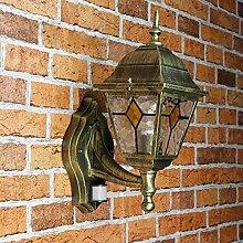 Antike Wand Außenleuchte Wandlampe mit Bewegungsmelder mit Glas im Tiffany Stil aufwärts E27 230V Beleuchtung Außen Garten Hof Sensor