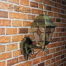 Antike Wand Außenleuchte Wandlampe mit Glas im Tiffany Stil aufwärts E27 230V Beleuchtung Außen Garten Hof
