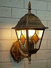 Antike Wand-LED Energiespar-Außenleuchte 5 Watt IP43 aus Aluguss Außenlampe Wandleuchte Lampe Leuchte