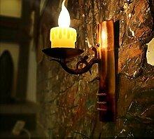Antike Wandleuchte Coffee Shop schmiedeeiserne Bambus Lampe Kerze Wandleuchte