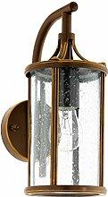 Antike Wandleuchte (Rustikal, Braun, Klar, Laternenform, E27) Außenleuchte Gartenlaterne Kerzenlampe Wandlampe