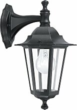 Antike Wandleuchte (Rustikal, Schwarz, Klar, Laternenform, E27) Außenleuchte Gartenlaterne Kerzenlampe Wandlampe