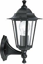Antike Wandleuchte (Rustikal, Schwarz, Klar, Laternenform, E27) Außenleuchte Laternenleuchte Kerzenlampe Wandlampe