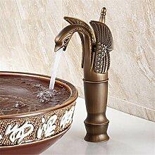 Antike Wasserhahn warmes und kaltes Nouveau Continental Waschtisch Armatur Waschbecken im Swan Waschbecken Armaturen bronze, Sitzbank Becken