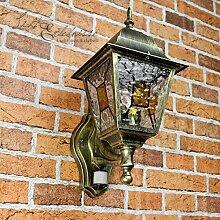 Antike XXL Wand Außenleuchte Wandlampe mit Bewegungsmelder mit Glas im Tiffany Stil aufwärts E27 230V Beleuchtung Außen Garten Hof Sensor