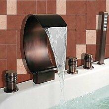 Antiken römischen Bäder/Wide/Dusche mit Schwallbrause mit zwei Griff Keramik Ventil 5-Loch Öl Kupfer,