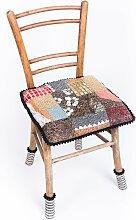 Antiker Holzstuhl mit Patchwork Mosaik von Yukiko