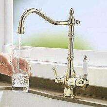 Antiker Messing Bad Wasserhahn Wasserhahn, 3-Wege