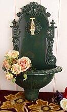 Antiker Wandbrunnen, Zierbrunnen, Gartenbrunnen, Brunnen, Eisenbrunnen für den den Garten, die Terrasse oder schöne Zuhause, in Grün - Palazzo Exclusive