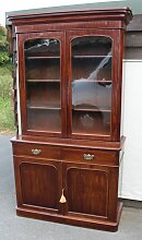 Antikes Mahagoni Chiffoniere Bücherregal mit zwei