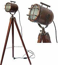 Antikes Messing-Holz mit Dreibein-Lampe,