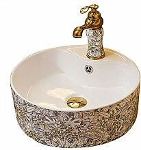 Antikes rundes weißes Waschbecken Keramik Kunst