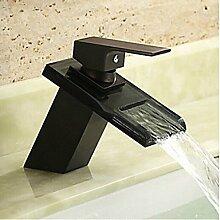 Antikglas Wasserfall Waschbecken Wasserhahn-schwarz