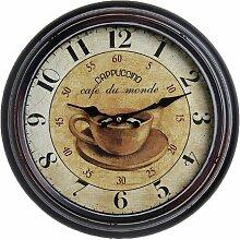 Antique HOME 21154 Cappucino Metall Wanduhr Antik