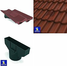 Antique Red Marley Mendip, Redland Grovebury Double Pantile Roof In-Line Tile Vent Ventilator & Flexi Pipe Adaptor by Manthorpe