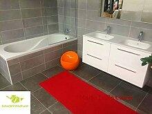 Antirutschmatte Badematte Küchenmatte Küchenteppich / Abmessungen und Farbwahl / Multi-Use-Teppich / MadeInNature (65x300cm, Mohn rot)