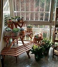 Antiseptic Holz Blumenständer Blumen-Rack, Massivholz-Balkon Indoor-Pflanzen-Rack, kreative Mehrgeschoss-Logs Leiter-Stil Blumenständer Starke Tragfähigkeit ( Farbe : 1* )