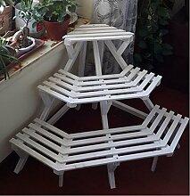 Antiseptic Holz Blumenständer Blumen-Rack, Massivholz-Balkon Indoor-Pflanzen-Rack, kreative Mehrgeschoss-Logs Leiter-Stil Blumenständer Starke Tragfähigkeit ( Farbe : 2* )