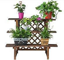Antiseptic Holz Blumenständer Courtyard Blumentopf Rack, Outdoor Massivholz Leiter Blumenständer Pflanze Töpfe Balkon Drei Leiter Blumenständer Starke Tragfähigkeit ( größe : 60 )