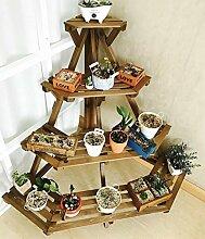 Antiseptic Holz Blumenständer Flower Rack, Massivholz Balkon Indoor Plant Rack, Kreative Mehrgeschossige Logs Leiter-Stil Blumenständer Starke Tragfähigkeit ( Farbe : 1* )