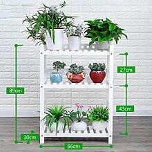 Antiseptic Holz Blumenständer Hölzerne Blumen-Racks / Indoor-und Outdoor-Pflanzen-Racks / Multi-Layer-Blumentöpfe / Floor-Art Flower Display Stand Starke Tragfähigkeit ( Farbe : Weiß , größe : 89*30*66cm )