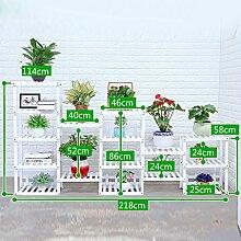 Antiseptic Holz Blumenständer Hölzerne Blumen-Racks / Indoor-und Outdoor-Pflanzen-Racks / Multi-Layer-Blumentöpfe / Floor-Art Flower Display Stand Starke Tragfähigkeit ( Farbe : Weiß , größe : 114*218*58cm )