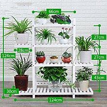 Antiseptic Holz Blumenständer Hölzerne Blumen-Racks / Indoor-und Outdoor-Pflanzen-Racks / Multi-Layer-Blumentöpfe / Floor-Art Flower Display Stand Starke Tragfähigkeit ( Farbe : Weiß , größe : 124*124cm )